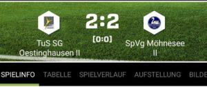 Zweite Mannschaft spielt Unentschieden gegen SpVg Möhnesee II